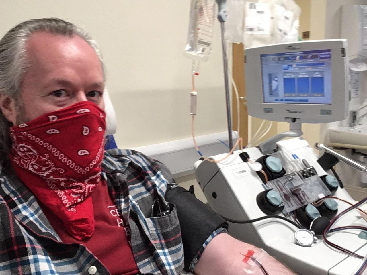 Paul donates plasma