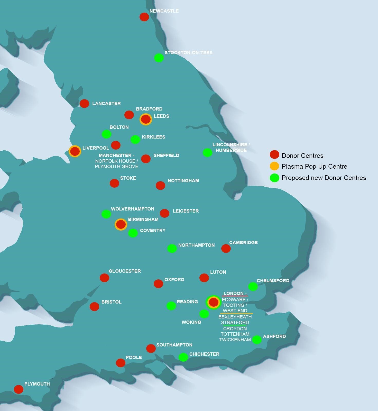 A map showing the locations of the 14 new donor centres, existing centres and pop-up centres. Information about existing donor centres can also be found at: https://www.nhsbt.nhs.uk/covid-19-research/plasma-donors/where-can-i-donate-plasma/