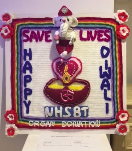 "Demi Ladwa's winning crocheted entry, depicting the god Ganesh and featuring the words: ""Happy Diwali. Save lives. NHSBT Organ Donation."""
