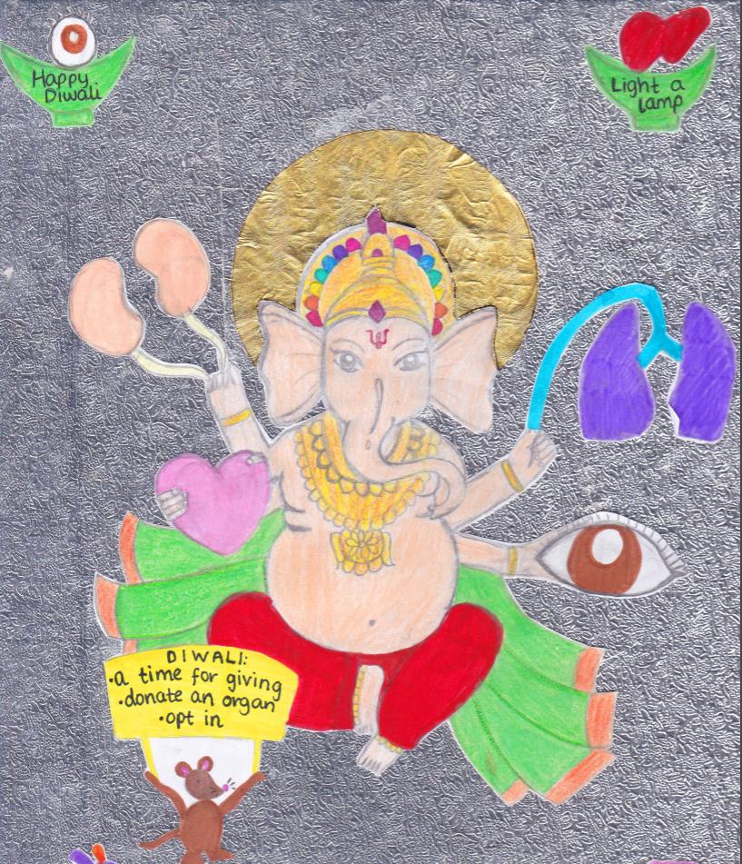 Saanvi's artworks shows Ganesh