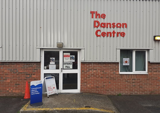 Give blood and plasma a-boards outside the Danson Centre door