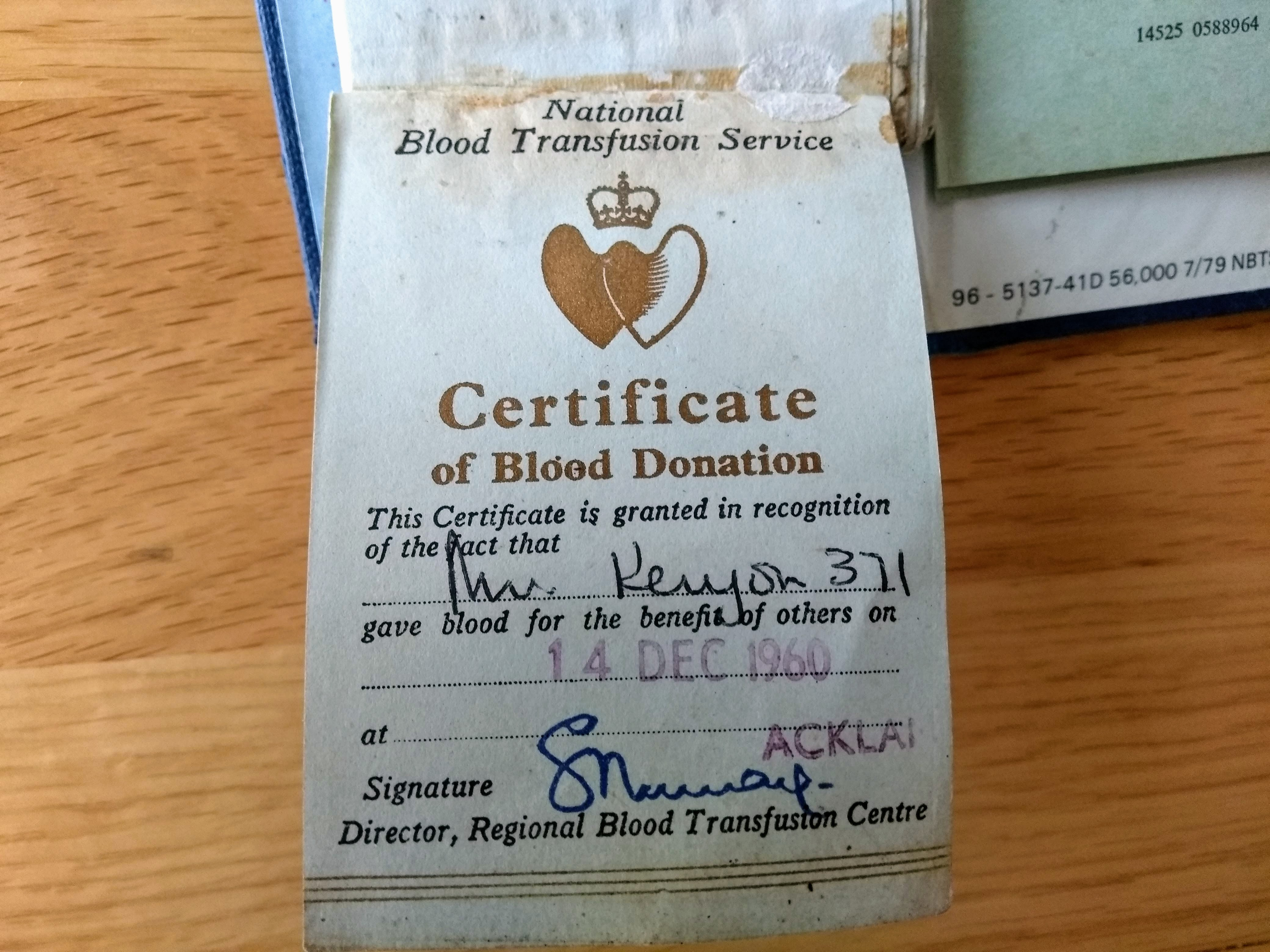 Chris' first donation certificate