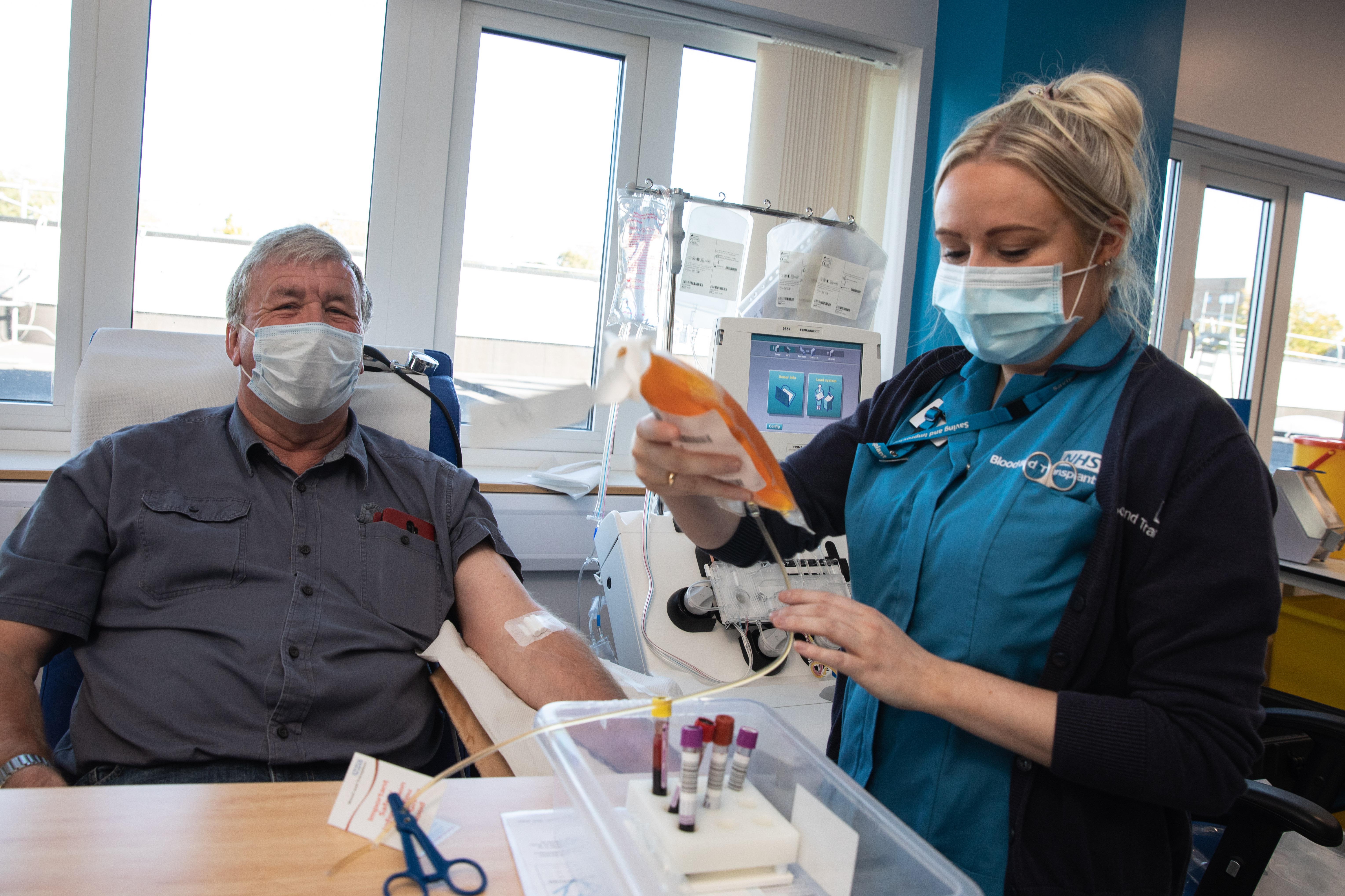 Alan Mack donating blood plasma