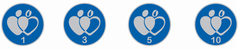 Pin badges for 1, 3, 5 and 10 donations show 2 hearts on a blue background