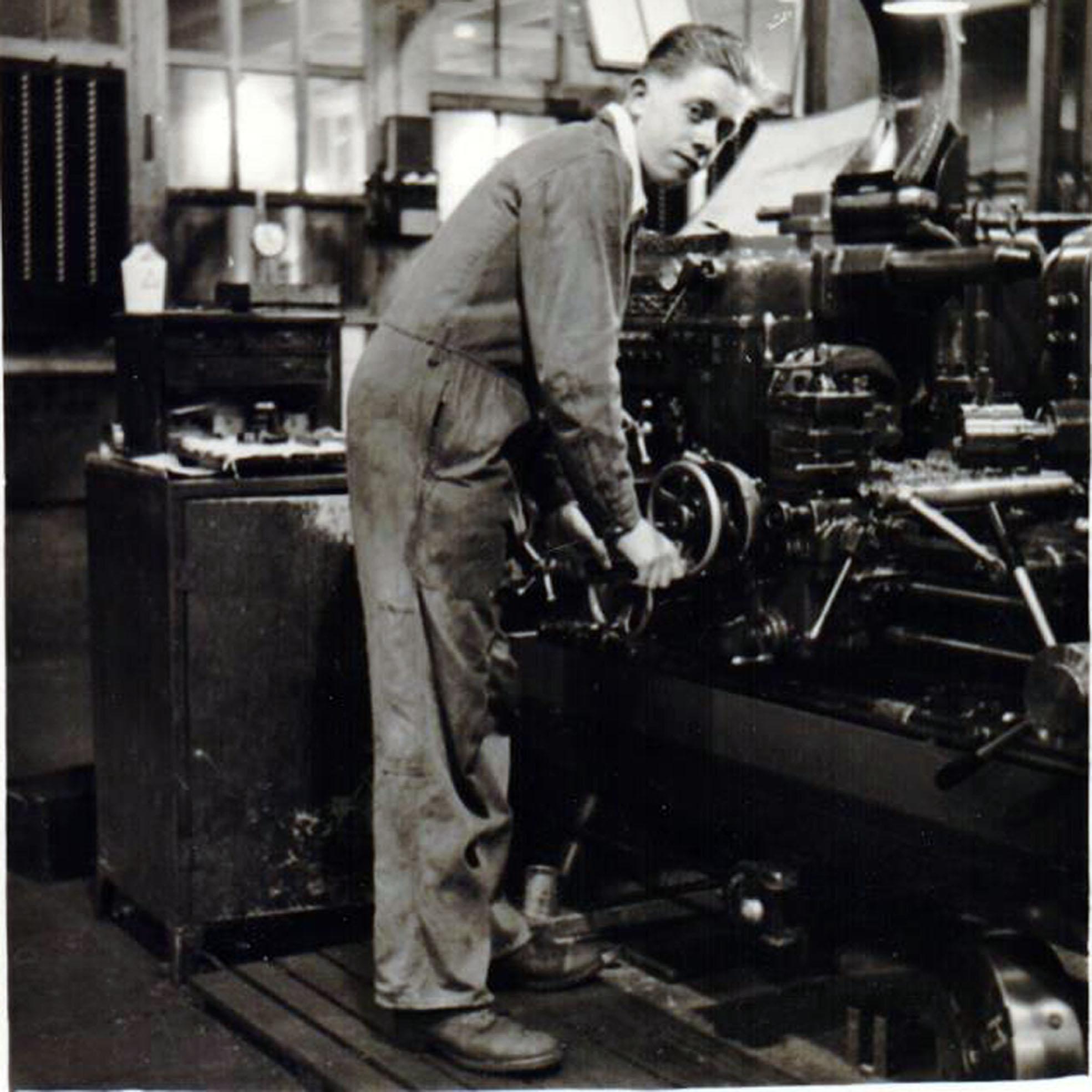Derek working at Leyland Motors