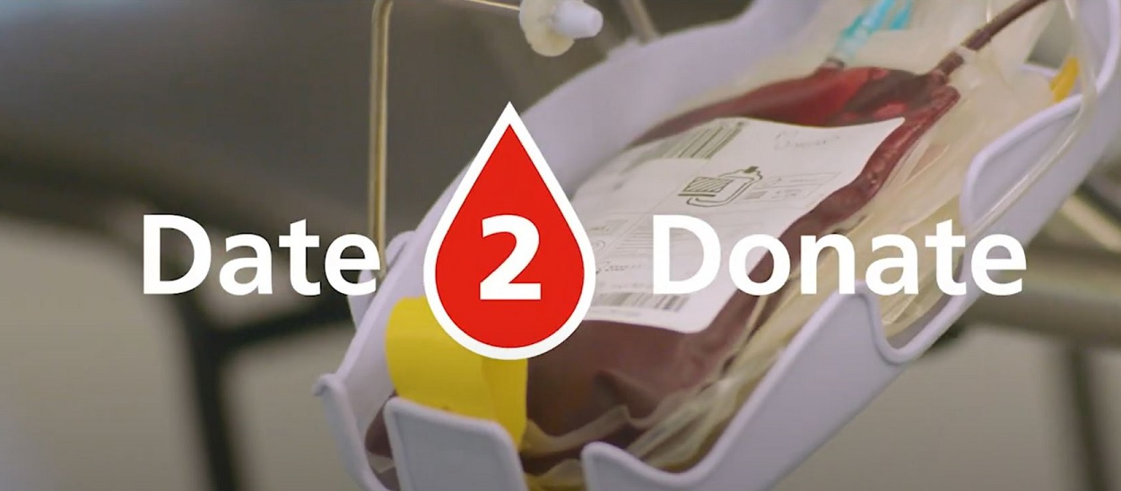 Date to donate banner image, blood bag on machine