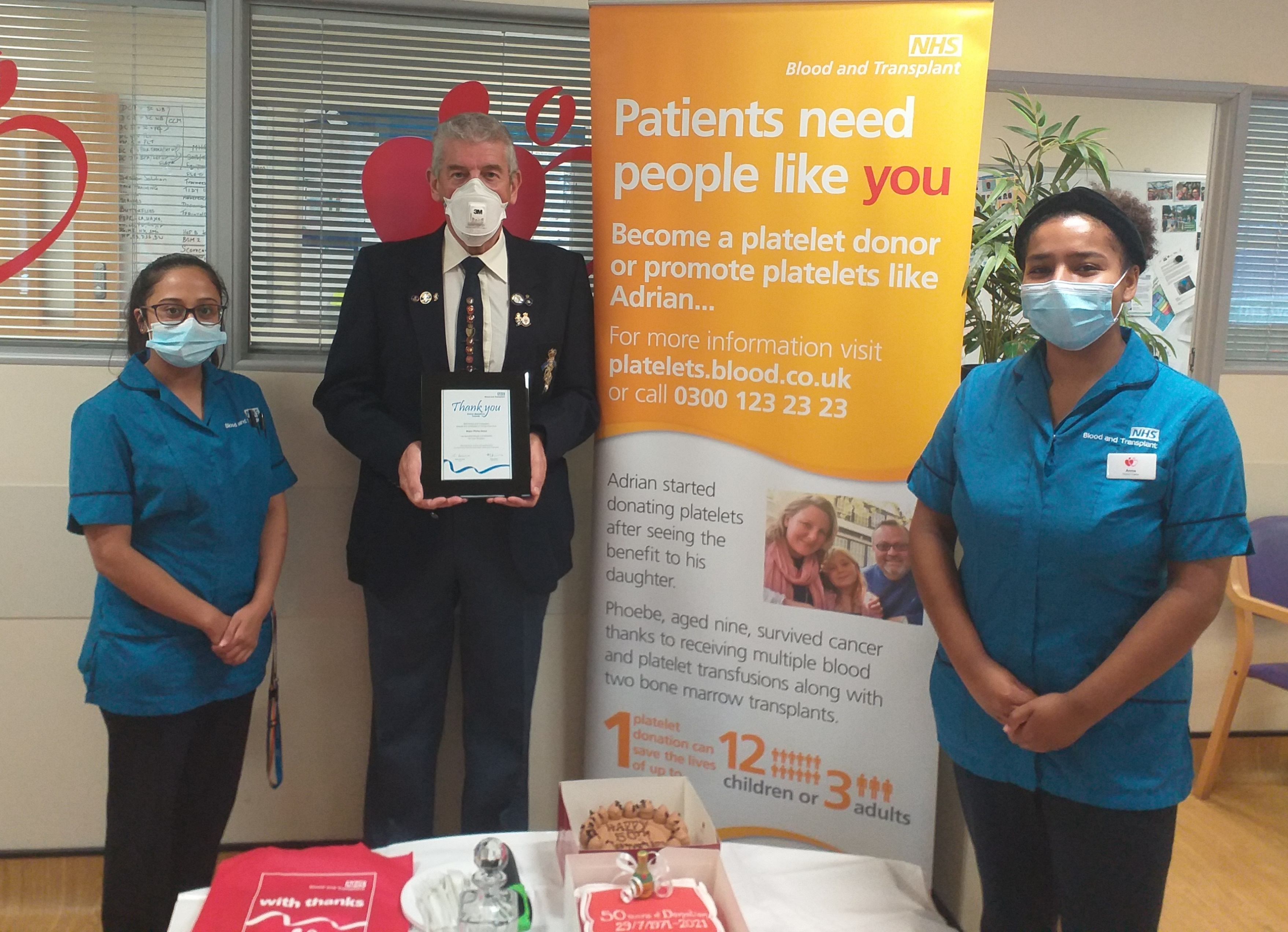 Phil celebrating his 50th anniversary at Tooting Donor Centre