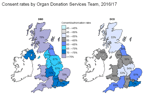 Consent rates by organ donation services team 2016 to 2017