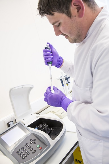 A scientist using a pipette