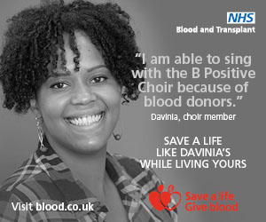 "Davinia: ""I am able to sing with the B Positive Choir because of blood donors"""