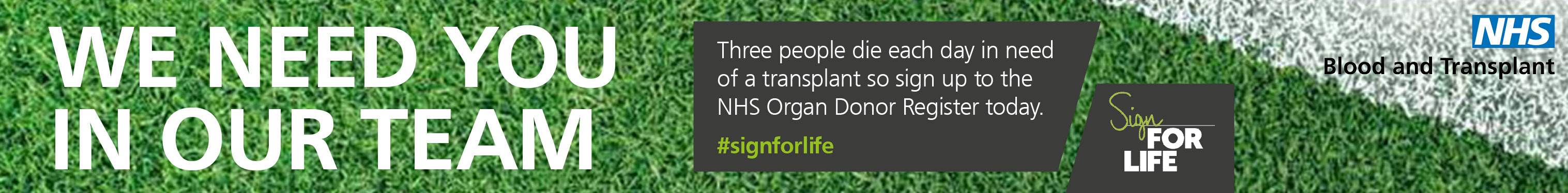 Sign For Life leaderboard banner