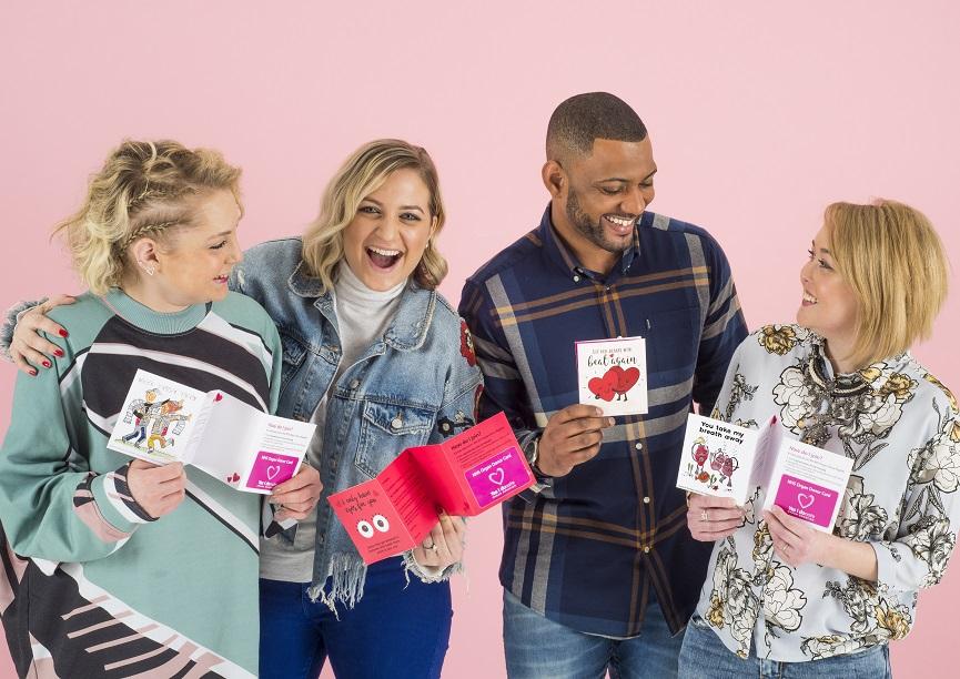 Jess, Kim, JB Gill and Chloe holding Moonpig Valentine's cards