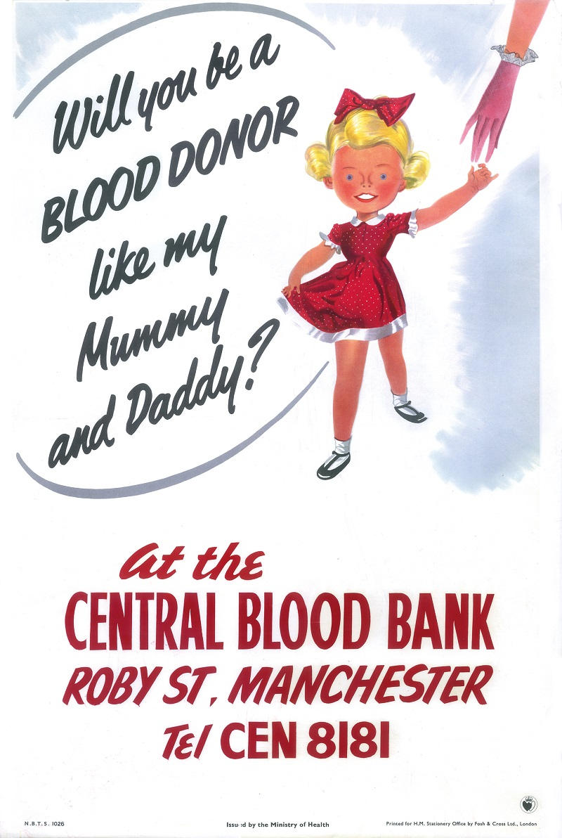 A vintage blood donor recruitment poster depicting a small girl asking people to donate.