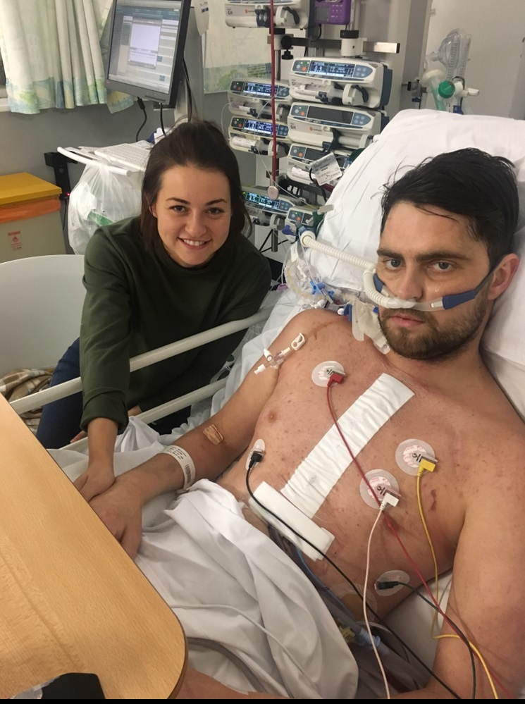 Aaron Mellis and Amber Hagan in hospital